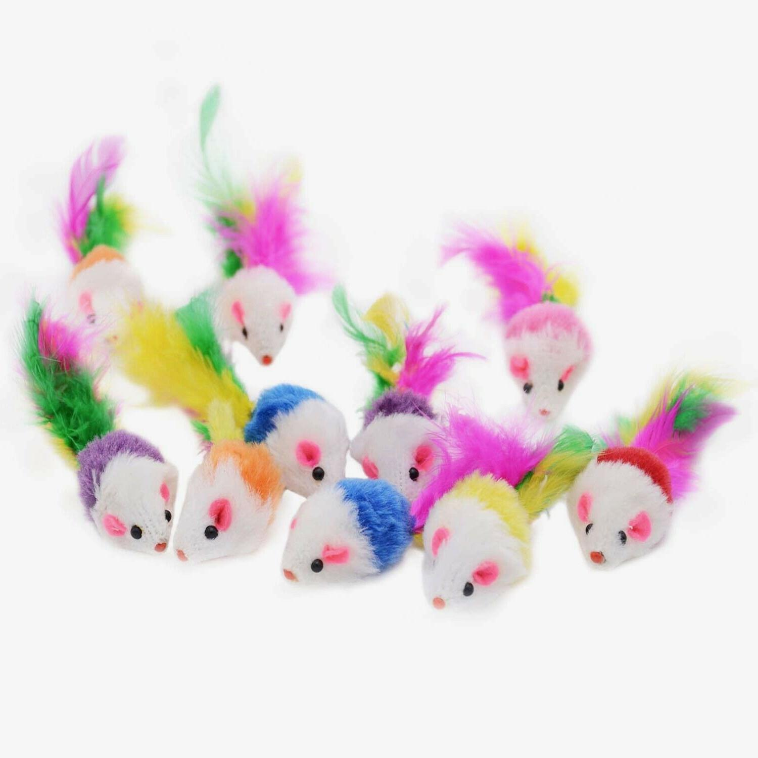 cat toy rattling fuzzy mice w feather