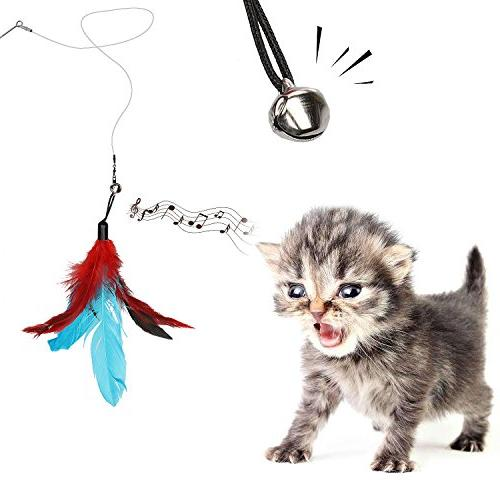 Ecokeo Cat 12 Cat Feather Toy, Including 2 Toy with Refills Feather