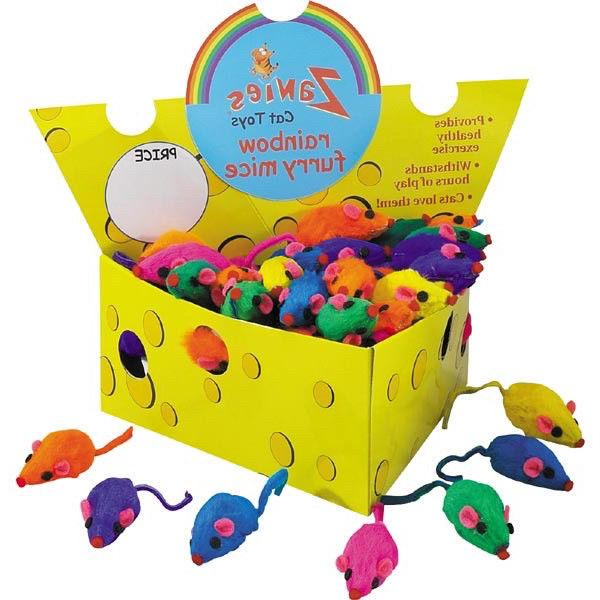 cat toy w real rabbit fur rainbow