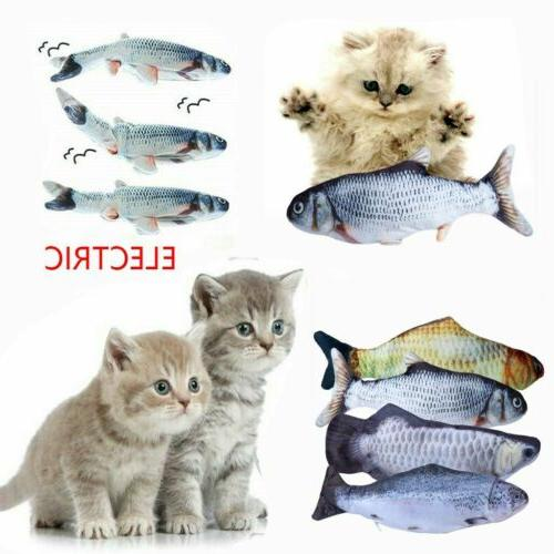 "12"" Realistic Electric Moving Cat Kicker Fish Toy Flopping F"