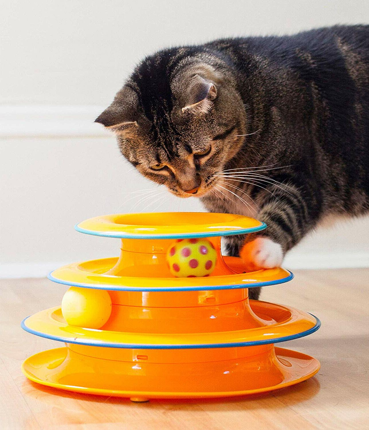 Cat Toys Interactive Ball Fun Game Pet Play 3 Tire Tower Kit