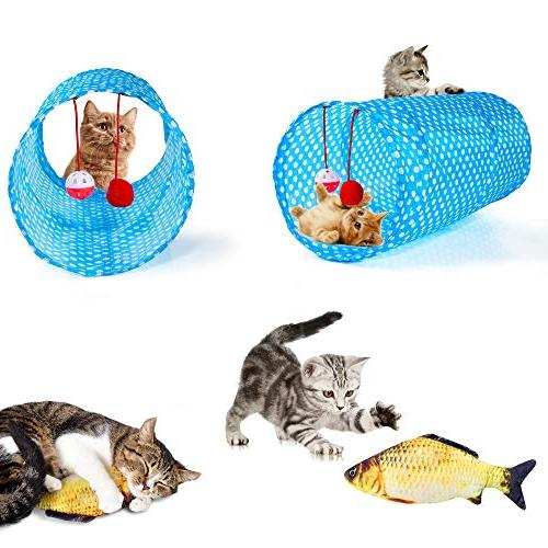 AILUKI 26PCS Kitten Variety Catnip Toy Set 2 Feather Teaser,Catnip Fish,Mice,Colorful Balls