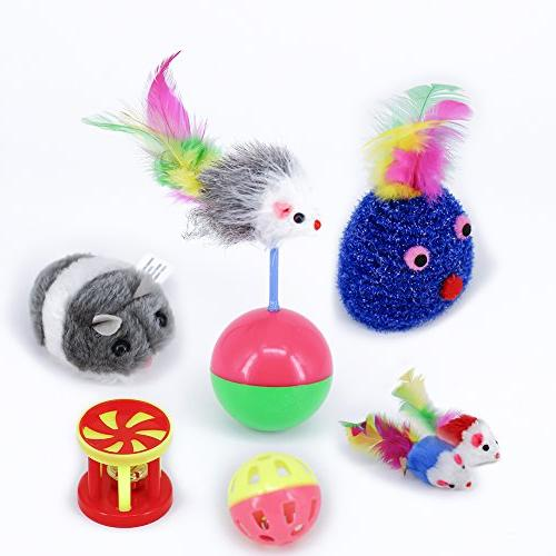 RIO Direct Kitten Feather Toy, Cat Teaser Fluffy Mouse, - Set Puppy, Kitty