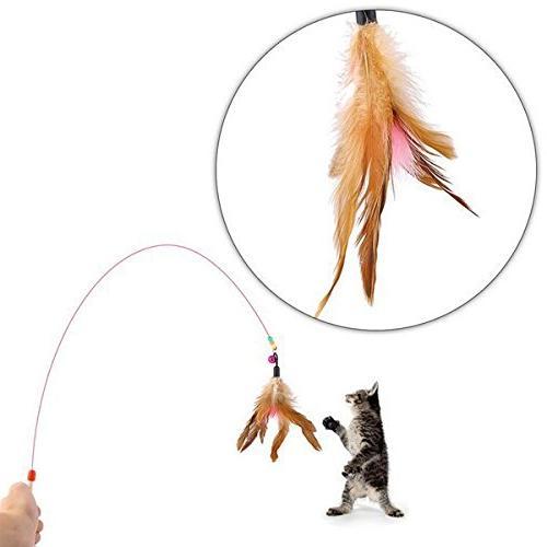 RIO Cat Kitten Toys Variety - Cat Teaser Wand, Mouse, Crinkle Balls - Kitty