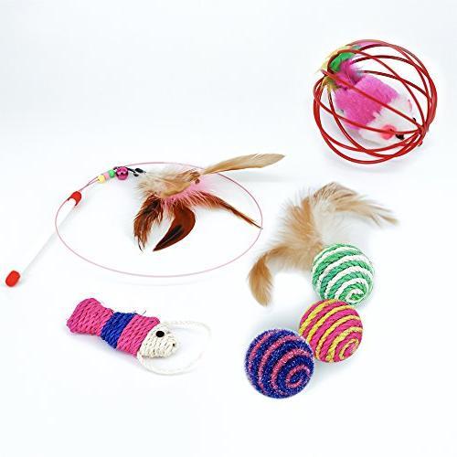 RIO Cat Kitten Toys - Cat Tunnel, Interactive Feather Cat Teaser Crinkle Balls Set Puppy, Kitty