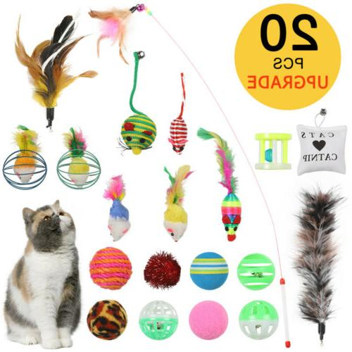 20Pcs Pet Cat Toys Set Bulk Mice Balls Pet Kitty Kitten Play