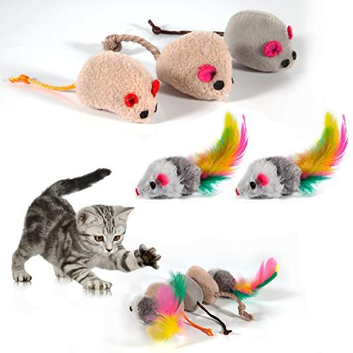 MIBOTE 24Pcs Kitten Catnip Toys Assorted, 2 Way Tunnel, Interactive Mouse, Crinkle Toys for Puppy