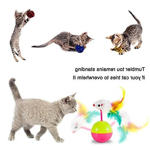 MIBOTE Toys Kitten Toys Interactive Mouse, Cage Crinkle Rainbow Toys Kitty