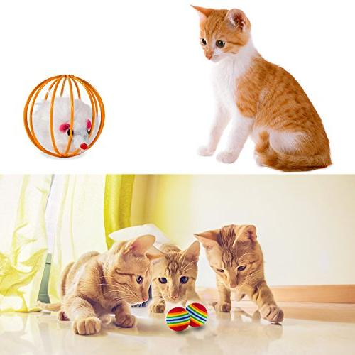 MIBOTE 24Pcs Toys Kitten Assorted, 2 Way Interactive Fluffy Mouse, Tumble Crinkle Balls Toys Puppy Kitty