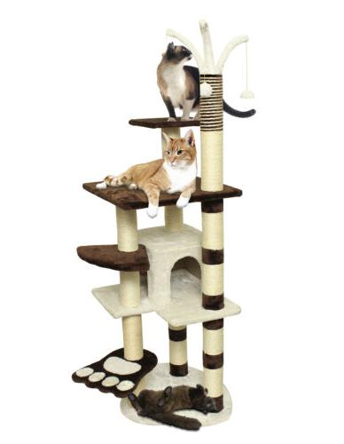 OxGord Cat Tree Condo Furniture Scratch Post Pet House, Brow