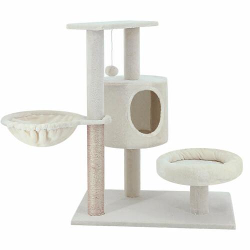 ScratchMe Cat Tree with & Scratching Post Pet Play House with