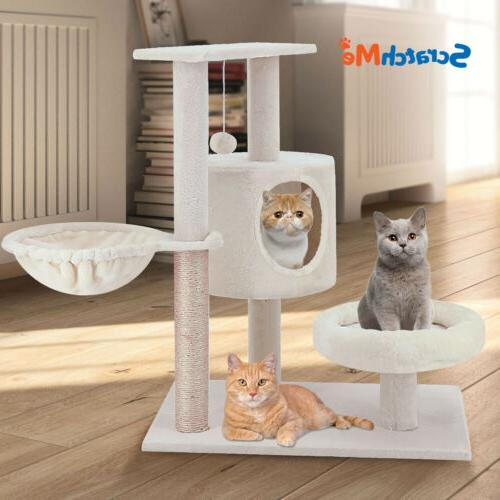 cat tree tower with hammock and scratching