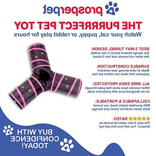 Prosper Cat Tunnel - Collapsible Play Tube Kittens, Dogs Black/Pink