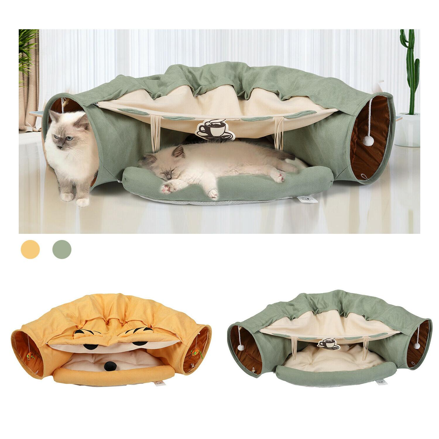 cat tunnel bed soft plush removable toy