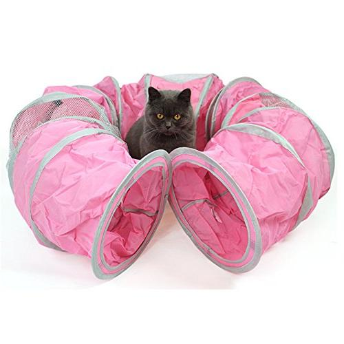 cat tunnels toys pink foldable