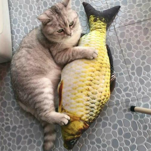cat wagging fish electric realistic plush simulation