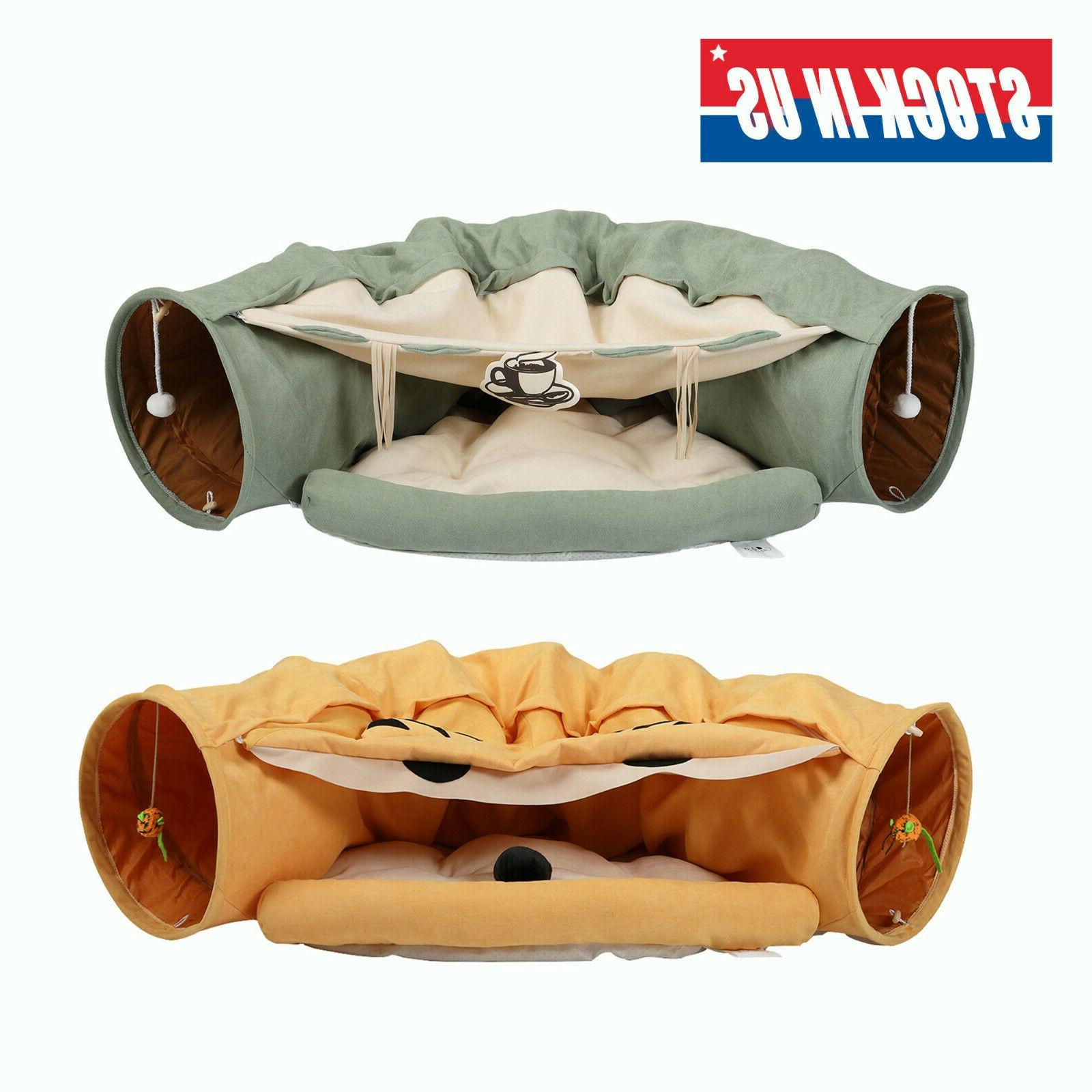 collapsible cat tunnel bed hanging scratching balls