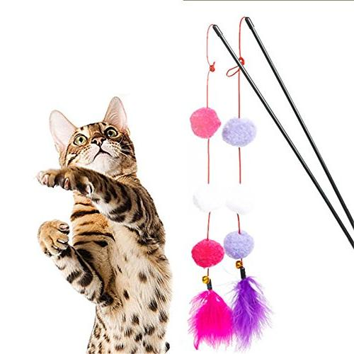 colorful ball feather tease cats