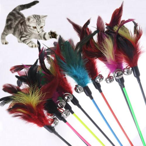colorful feather cat toys with small bell