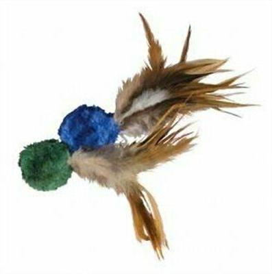 crinkle ball w feathers cat