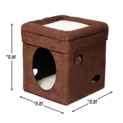 """MidWest """"The Cat Cube, Cat / in Brown Faux Suede & Synthetic Sheepskin"""