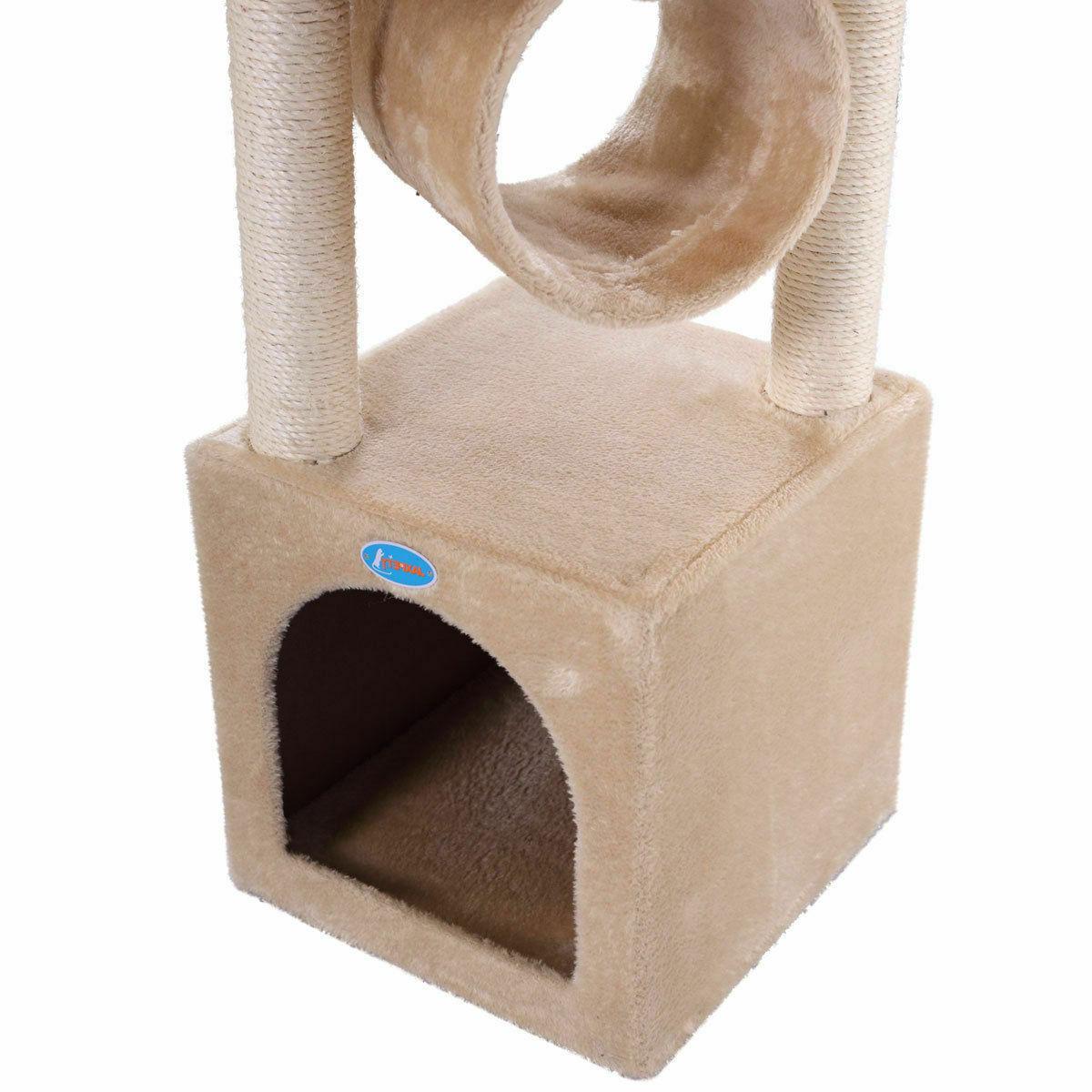 Deluxe Cat Kitten Pet House Beige with