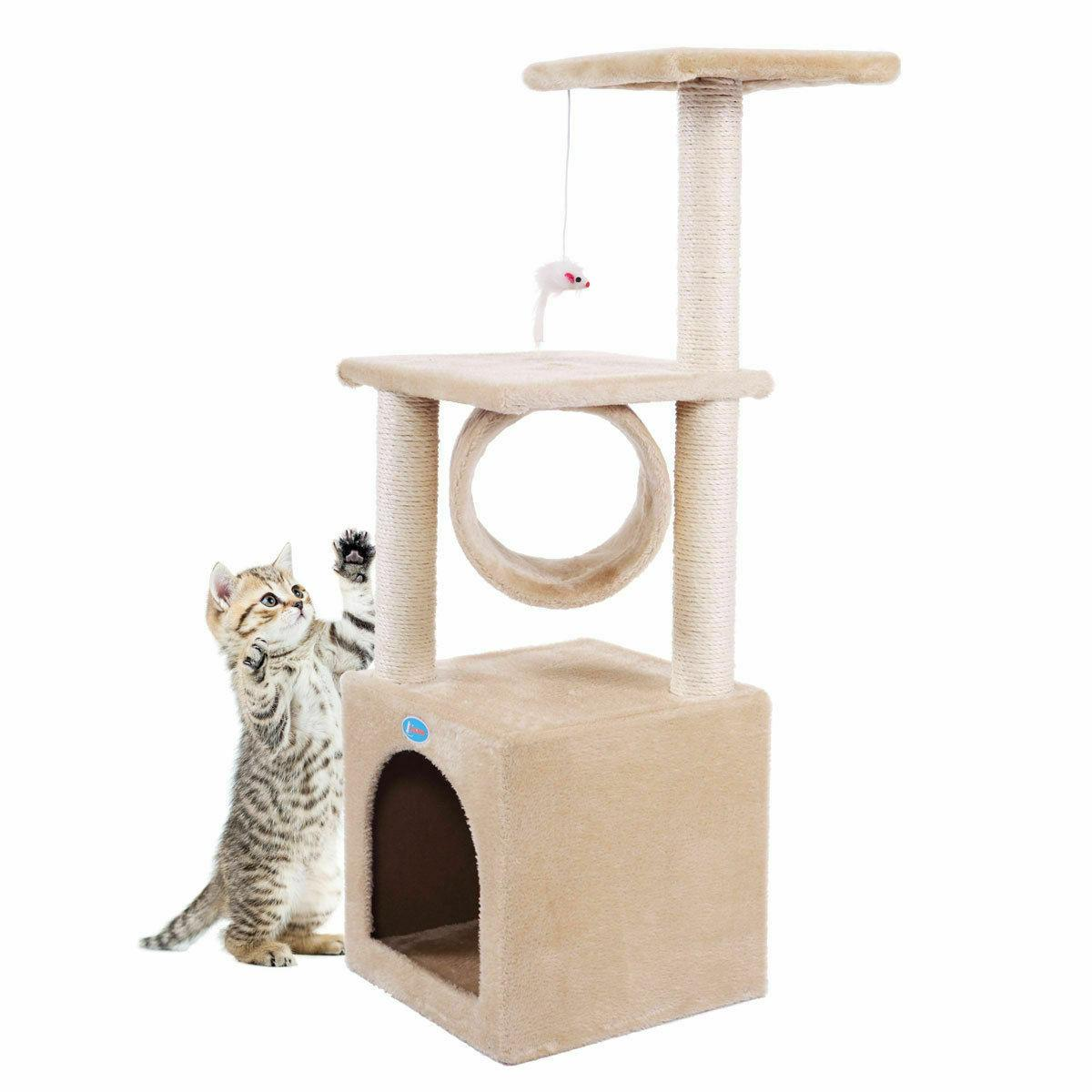 """Deluxe 36"""" Tree Condo Play Kitten House with"""