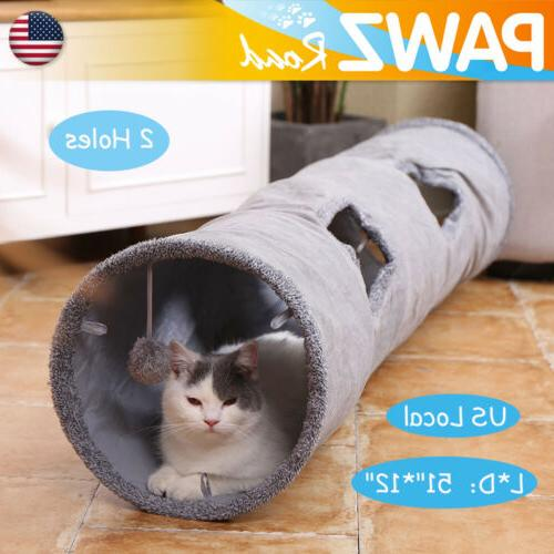"Dia 12"" Pet Cat Tunnel 2 With Toys Foldable Tube"