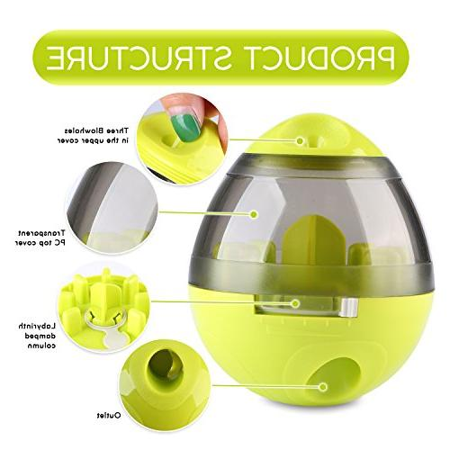 Wellood Ball Toy, Interactive Treat-Dispensing Ball for Dogs & Cats: Increases Mental Stimulation, Tumbler Slow Easy to Clean Green