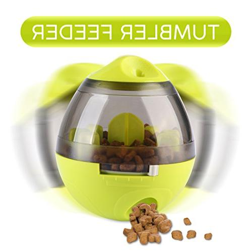 Wellood Ball Interactive Ball for Cats: IQ Mental Stimulation, Tumbler Slow Feeder Easy to Clean Green
