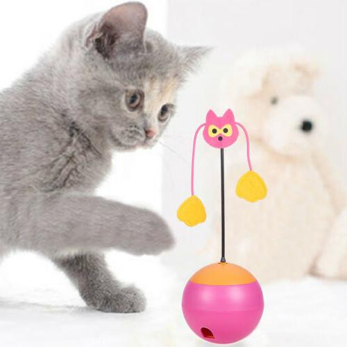 Electric Tumbler Cat Toys Interactive Chaser Light Food Dispenser for
