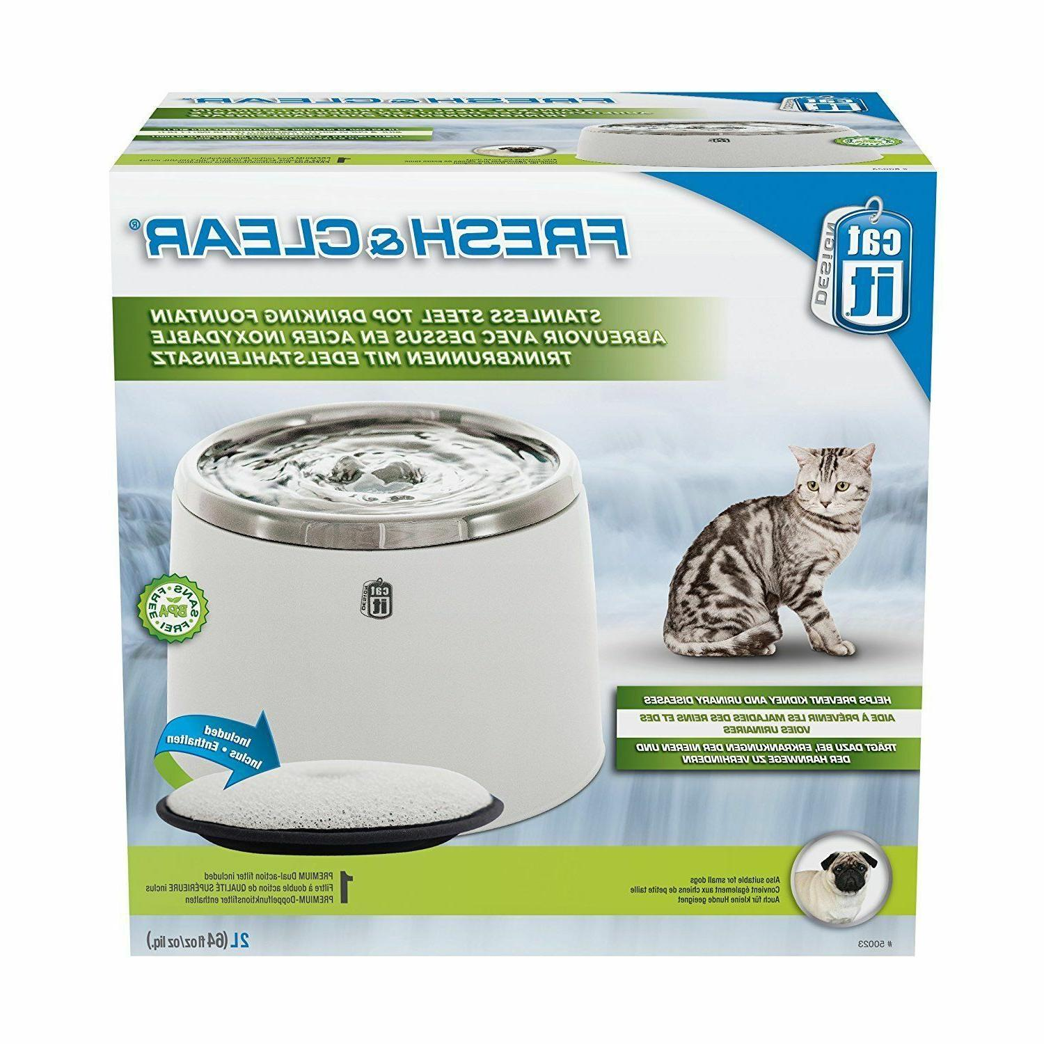 Catit Fresh & Clear Stainless Steel Top Cat & Dog Drinking F