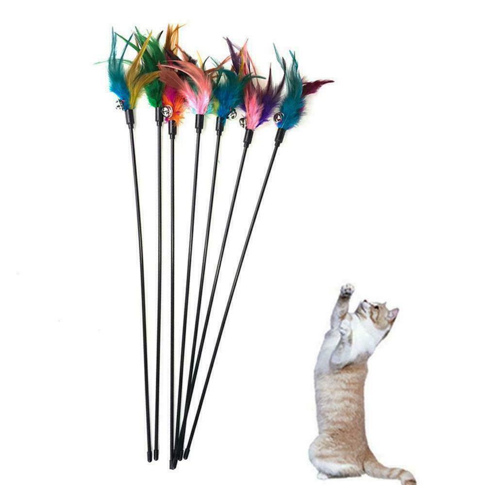 Fun Kitten Toy Cat Feather Bell Wand Teaser Rod Bead Play Ba