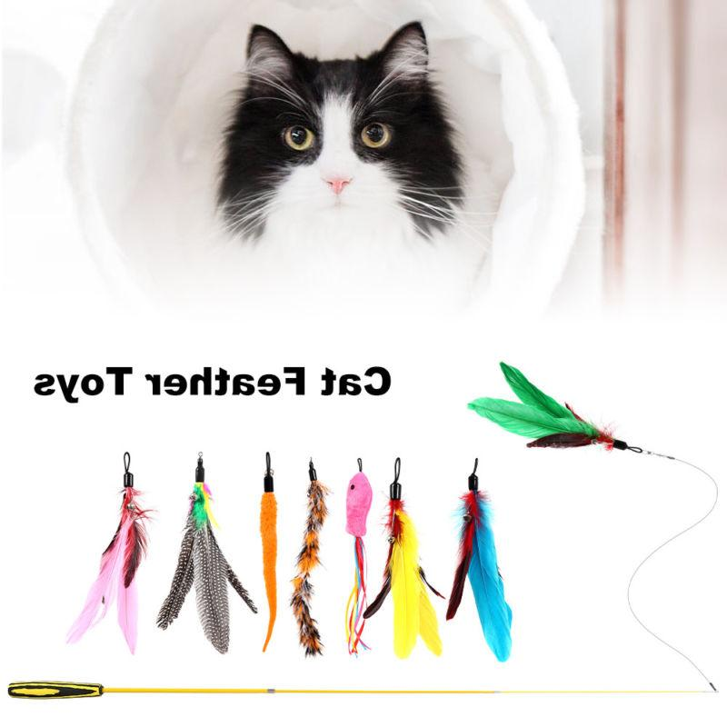 Funny Cat / Kitten Pet  Feather Teaser Cat Toy Colorful Stri