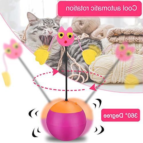 Yofun 3 Function Toy Ball Chaser Light Food Dispenser Kitten, Pink