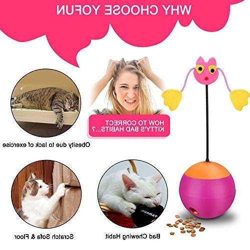 Yofun 3 Multi Function Toy Chaser Food Dispenser for Kitty Kitten,