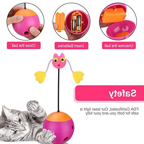 Yofun Cat 3 Function Toy Ball Tumbler Chaser Dispenser for and Kitten, Pink