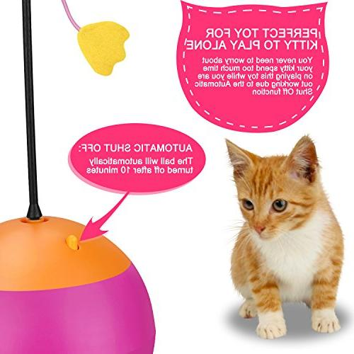 Yofun 3 in Multi Function Automatic Cat Toy Ball with Dispenser for and Kitten, Pink
