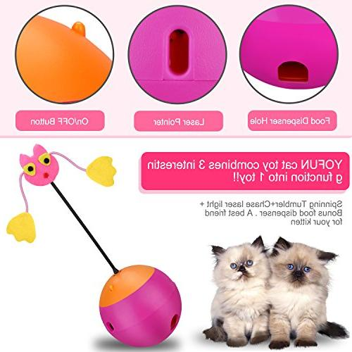 Yofun 3 Multi Function Automatic Cat Toy Ball Chaser Light and Dispenser for and
