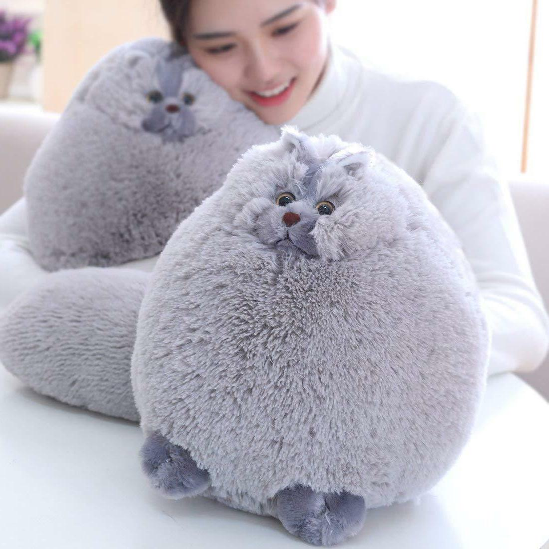 Winsterch Kids Fluffy Plush Cat Stuffed Cat Animal Toy Gray,