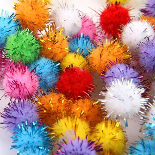 100Pc Mini Sparkly Glitter Tinsel Pompom Balls Small Pom Bal