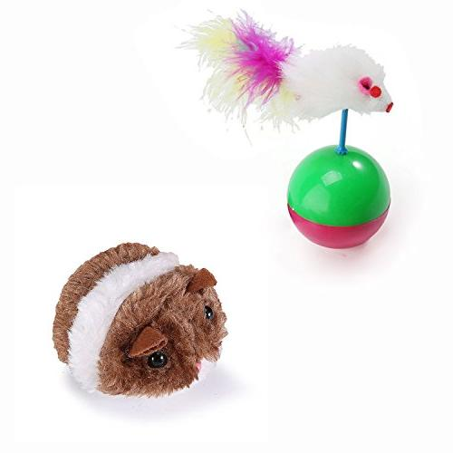 Chengyu Multi-Function Scratch Board Toys Set Including Board Self Tumbler Plush Mouse Toy, Spring Bell Catnip Fish Toy