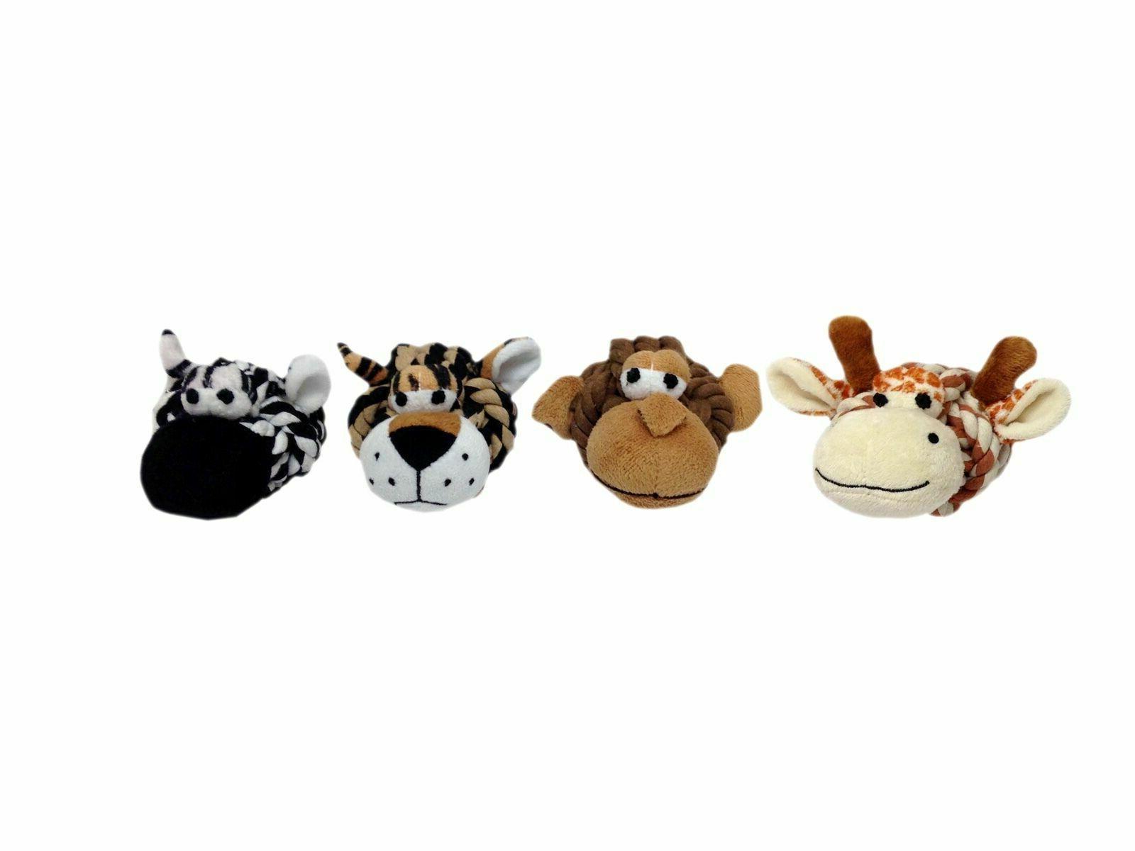 "Multi Pet Rope Head Safari Animals - 4"" Dog Toy (Free Shippi"