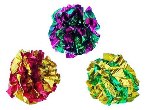 PETFAVORITES™ Mylar Crinkle Balls Cat Toys Best Crinkle Cat Toy Ever Pet Toys for Fat Cats Kittens Exercise, Soft/Light/1.5