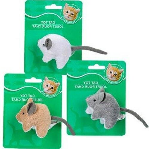 New 3 Pack Itty Bitty Gray Brown White Mice Cat Toys