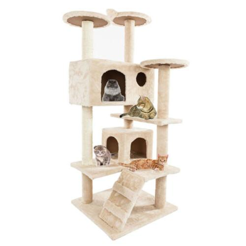 New Cat Condo Scratch Post Pet Play House Home Toys Hammock