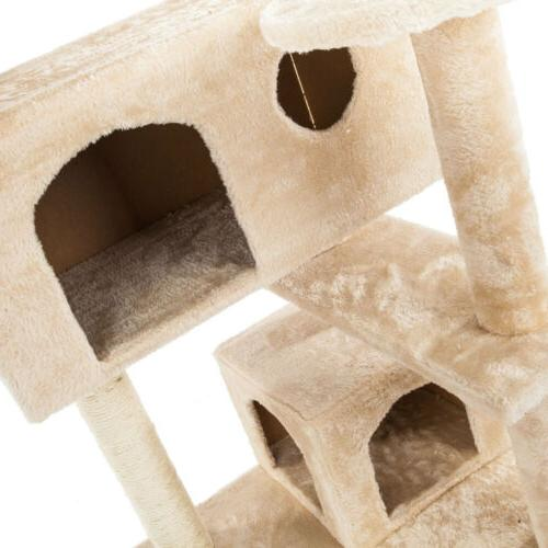 Condo Scratch Post Pet Play House Toys Hammock Tower Brown
