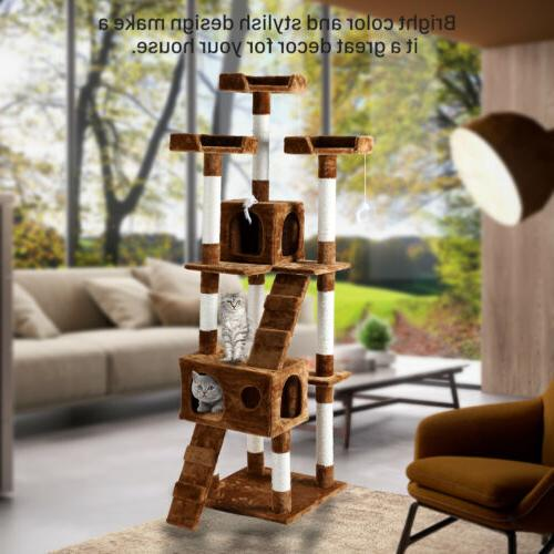 "New 67"" Cat Tower Furniture Post Kitty Play House Toys"