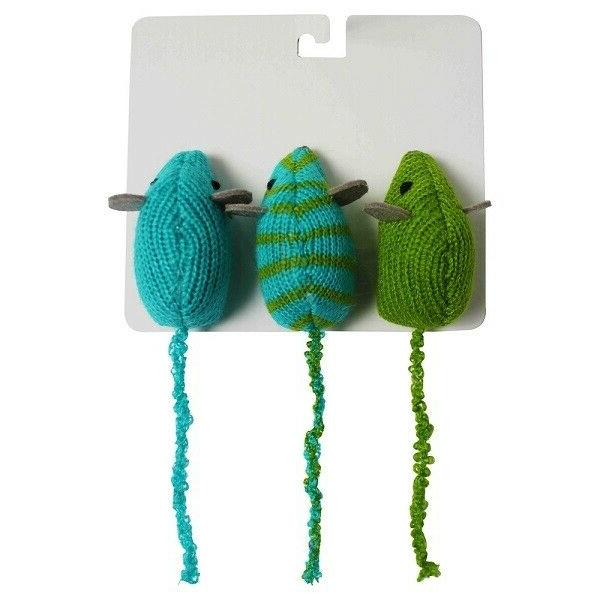 new cat toy knit mice multicolored 3
