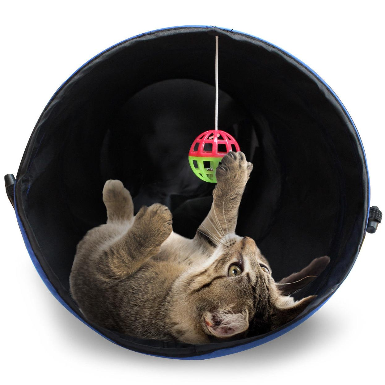 Purrfect Feline Tunnel Design, Collapsible 4-way Tunnel Toy with Crinkle